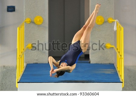 TURIN, ITALY - JANUARY 22: Diletta Piave competes at 10m platform at 2012 Indoor diving italian championship on January 22, 2012 in Turin, Italy.