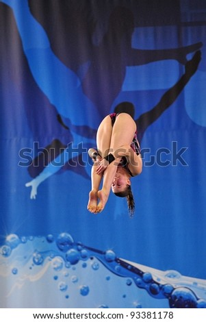 TURIN, ITALY - JANUARY 22: Giorgia Barp competes at 10m platform at 2012 Indoor diving italian championship on January 22, 2012 in Turin, Italy.