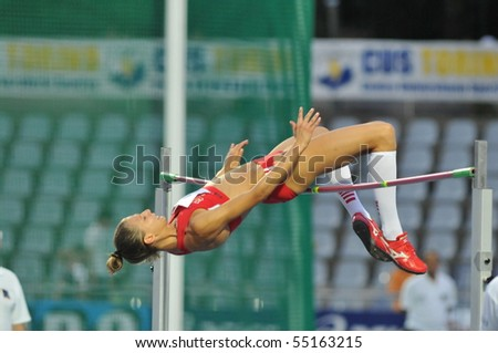 TURIN, ITALY - JUNE 12: Beatrice Lundmark of Suisse perform high jump during the 2010 Memorial Primo Nebiolo track and field athletics international meeting, on June 12, 2010 in Turin, Italy.