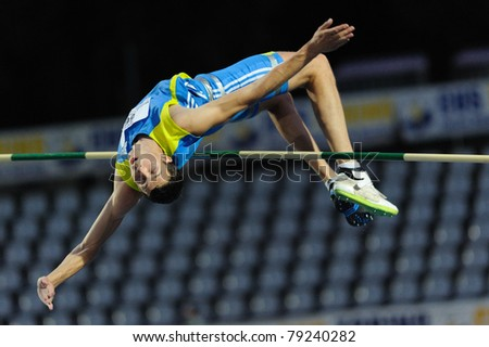 TURIN, ITALY - JUNE 10: Bondarenko Bodan (UKR) performs high jump during the 2011 Memorial Primo Nebiolo track and field athletics international meeting, on June 10, 2011 in Turin, Italy.