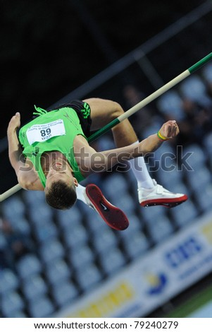 TURIN, ITALY - JUNE 10: Dmitrik Alexsey (RUS) performs high jump during the 2011 Memorial Primo Nebiolo track and field athletics international meeting, on June 10, 2011 in Turin, Italy.
