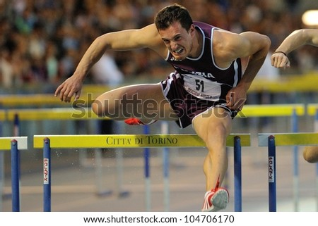 TURIN, ITALY - JUNE 08: Emanuele Abate ITA run 110m HS during the International Track & Field meeting Memorial Nebiolo 2012 on June 08, 2012 in Turin, Italy.