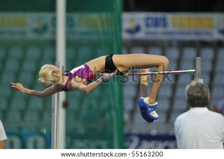 TURIN, ITALY - JUNE 12: Gordeyeva Irina of Russia perform high jump during the 2010 Memorial Primo Nebiolo track and field athletics international meeting, on June 12, 2010 in Turin, Italy.