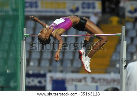 TURIN, ITALY - JUNE 12: Howard Lowe Chaunte of USA performs high jump during the 2010 Memorial Primo Nebiolo track and field athletics international meeting, on June 12, 2010 in Turin, Italy.