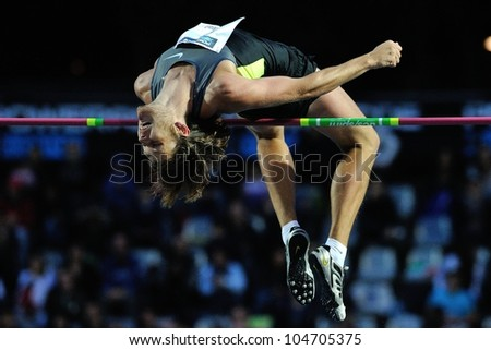 TURIN, ITALY - JUNE 08: Ivan Ukhow performs high jump during the International Track & Field meeting Memorial Nebiolo 2012 on June 08, 2012 in Turin, Italy.
