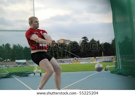 TURIN, ITALY - JUNE 12: Litvinov Sergei of Germany performs hammer throw during the 2010 Memorial Primo Nebiolo track and field athletics international meeting, on June 12, 2010 in Turin, Italy.