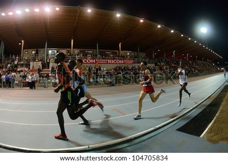 TURIN, ITALY - JUNE 08: Many athlete run 5000m at Nebiolo Stadium during the International Track & Field meeting Memorial Nebiolo 2012 on June 08, 2012 in Turin, Italy.