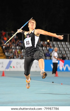 TURIN, ITALY - JUNE 26: Veronica Seimonte throws a javelin during the 2011 Summer Track and Field Italian Championship meeting on June 26, 2011 in Turin, Italy.