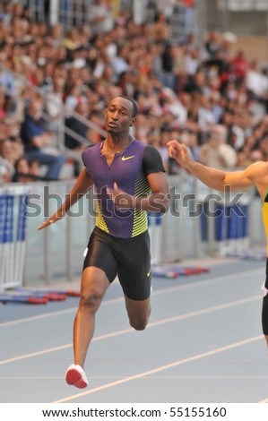 TURIN, ITALY - JUNE 12: Waugh Ainsley of Jamaica runs 100m sprint final during the 2010 Memorial Primo Nebiolo track and field athletics international meeting, on June 12, 2010 in Turin, Italy.