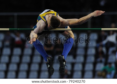 TURIN, ITALY - JUNE 10: Wolski Robert (POL) performs high jump during the 2011 Memorial Primo Nebiolo track and field athletics international meeting, on June 10, 2011 in Turin, Italy.