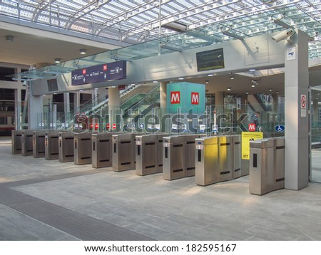 TURIN, ITALY - MARCH 11, 2014: Passengers in the new Torino Porta Susa main railway and subway station #182595167