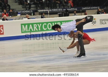 TURIN, ITALY - MARCH 24: Professional russian skaters Maria MUKHURTOVA & Maxim TRANKOV perform Pair free skating during the 2010 World Figure Skating Championship on March 24, 2010 in Turin, Italy.