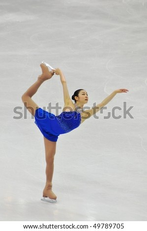 TURIN, ITALY - MARCH 27: Professional skater Yu-Na KIM from Korea performs free skating during the 2010 World Figure Skating Championship on March 27, 2010 in Turin, Italy.