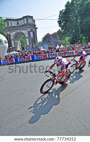 """TURIN, ITALY - MAY 7: Professional Cycling Team """"Katusha"""" near the finish of  team time trial. The first stage of """"Giro d'Italia 2011"""" on May 7, 2011 in Turin, Italy."""