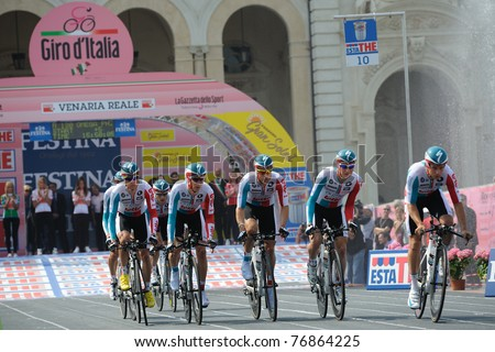 TURIN, ITALY - MAY 7: Professional Cycling Team Omega Pharma - Lotto starts for team time trial first leg of 2011 Giro da Italia from Venaria Reale castle on May 7, 2011 in Turin, Italy
