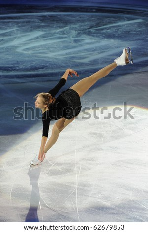 TURIN, ITALY - OCTOBER 09: Professional skater Carolina Kostner from Italy performs gala during the 2010 Golden skate awards on October 09, 2010 in Turin, Italy.