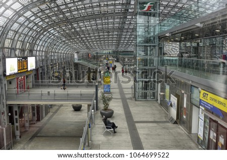 Turin, Italy, Piedmont April 08 2018. Porta Susa station, modern and futuristic structure made of glass and steel. #1064699522