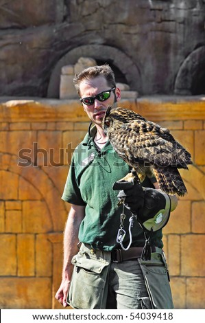 TURIN - MAY 22: A falconer takes an owl on his gauntlet during birds of prey show to visitors of the biopark May 22, 2010 in Turin, Italy.