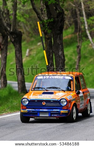 TURIN - MAY 15: Lancia Autobianchi A112 racing during 25th Town of Turin Rally on May 15, 2010 in Turin, Italy.