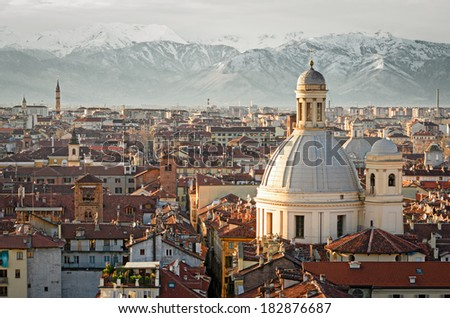 Turin Torino panorama with snowy Alps