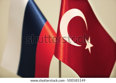 Turkey and Russia flags  Stok fotoğraf ©
