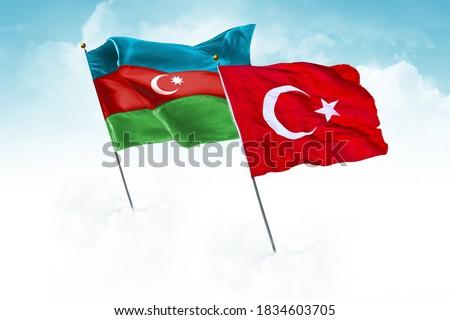Turkey & Azerbaijan Flags are waving in the sky