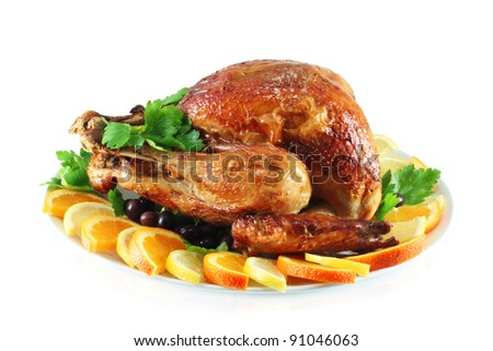 Turkey baked in the oven - stock photo