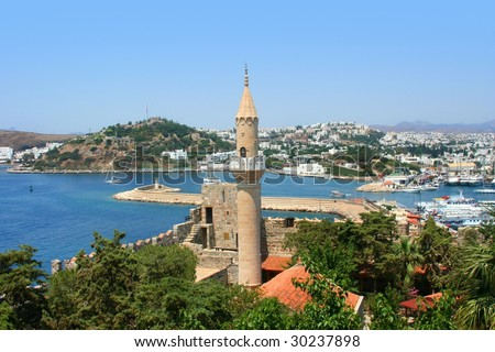 Turkey. Bodrum city.  The ancient name - Halikarnas. Castle of Saint Peter and islam mosque
