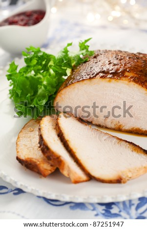 Turkey breast with cranberry sauce for Christmas dinner