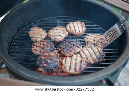 Turkey Burgers Cooking On Charcoal Grill Stock Photo 32277382 ...