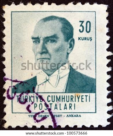 TURKEY - CIRCA 1961: A stamp printed in Turkey shows a portrait of Kemal Ataturk, circa 1961.
