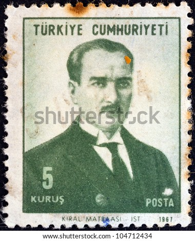 TURKEY - CIRCA 1968: A stamp printed in Turkey shows a portrait of Kemal Ataturk, circa 1968.