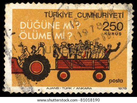 TURKEY - CIRCA 1978: A stamp printed in Turkey shows a truck carrying peoples, 250 kurus, series, circa 1978