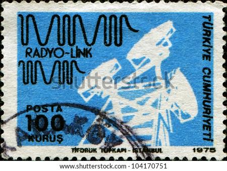 TURKEY - CIRCA 1975: A stamp printed in Turkey shows Telecommunications Tower, Radio link, circa 1975