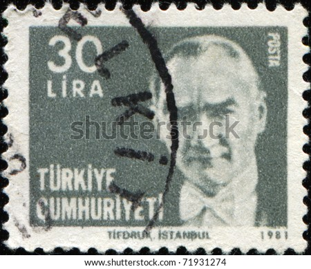 TURKEY-CIRCA 1981: A stamp shows image portrait Mustafa Kemal Ataturk was a Turkish, statesman, writer, and founder of the Republic of Turkey, as well as the first Turkish President, circa 1981