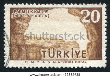 TURKEY- CIRCA 1958: stamp printed by Turkey, shows Ruins at Pamukkale, circa 1958