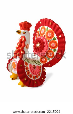 """Turkey cock - russian traditional toy """"Dymkovskaya"""" isolated over white background. Kirov, Russia."""