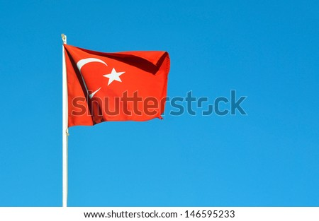 turkey country flag waving over blue sky