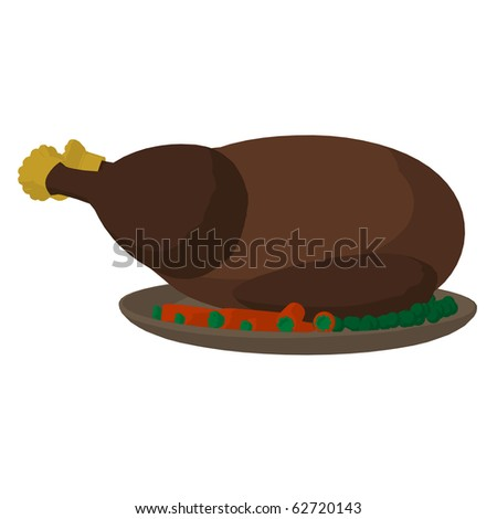 Turkey dinner on a white background