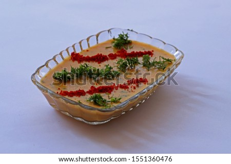 Turkey fava dish made from dried broad beans on white background.