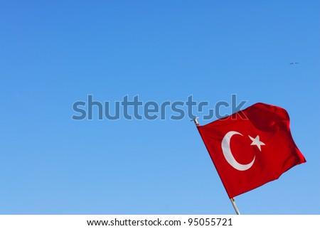 Turkey flag in blue sky