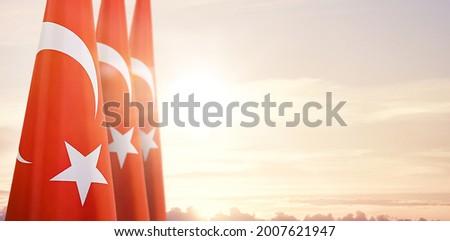 Turkey flag in the sky. Horizontal panoramic banner.  Stok fotoğraf ©