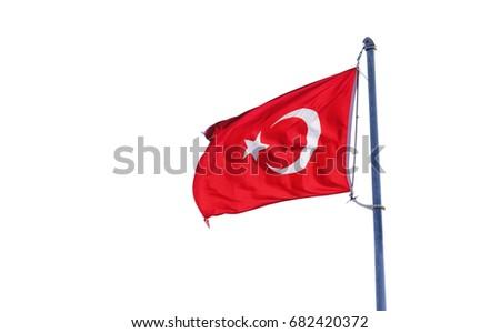 Turkey flag isolated on white #682420372