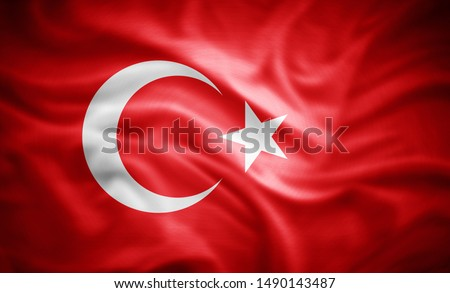 Turkey flag of silk -3D illustration