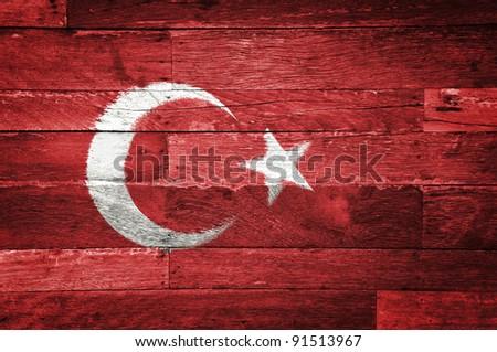 turkey flag painted on old wood background