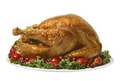 Turkey for Thanksgiving dinner on white
