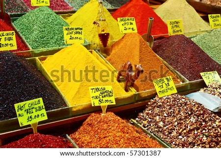 Turkey, Istanbul, Spice Bazaar, turkish spices for sale - stock photo