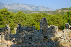 Turkey, Kemer, ancient city Faselis.   Remains of stone buildings