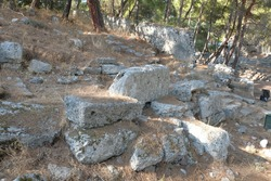 Turkey, Kemer, ancient city Faselis. Stone elements of buildings
