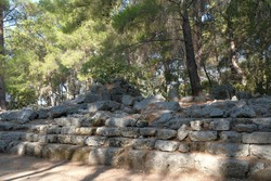 Turkey, Kemer, ancient city Faselis. Stone ruins